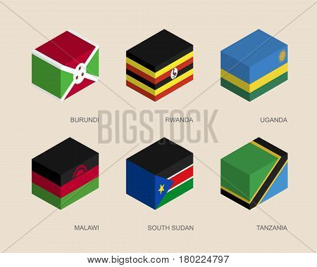 Set of isometric 3d boxes with flags of African countries. Simple containers with standards - Burundi, Rwanda, Uganda, Malawi, South Sudan, Tanzania. Geometric icons for infographics.