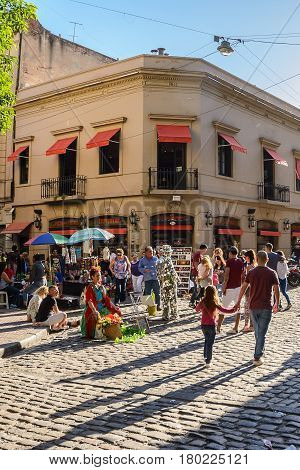 Buenos Aires Argentina - October 30 2016: Street artists in San Telmo in Buenos Aires during the market