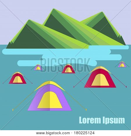 Flat design background with green mountain, blue lake, tent camp, Lorem ipsum stock vector illustration