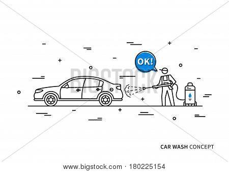 Car wash vector illustration. Touchless carwash line art concept.