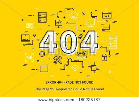 Error 404 page with datacenter server elements vector illustration on yellow background. Broken web page graphic design. Error 404 page not found creative template.