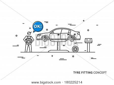 Tyre fitting vector illustration. Tire replacement service line art concept.