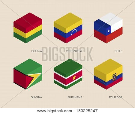 Set of isometric 3d boxes with flags of South America countries. Simple containers with standards - Bolivia, Venezuela, Chile, Guyana, Suriname, Ecuador. Geometric icons for infographics.
