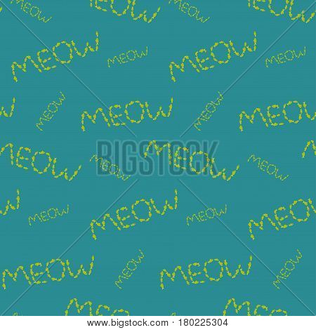 Meow pattern made of fishes on blue background