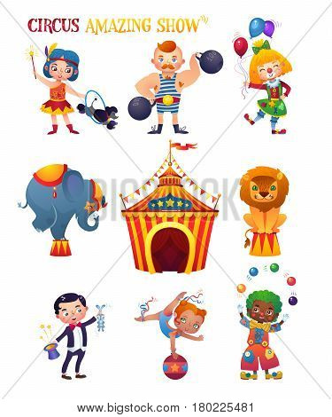 Circus Cartoon Characters Set. Clowness, strongman, trainer, elephant, lion, magician, acrobat and clown. Circus tent. A bright festive illustration for printing and children's holidays.