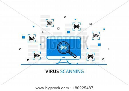 Virus scanning vector illustration. Computer bug search process on desktop line art.