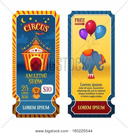 Circus Tickets. Circus tent at night. Elephant and Lion. Bright festive illustration for printing and children's holidays.