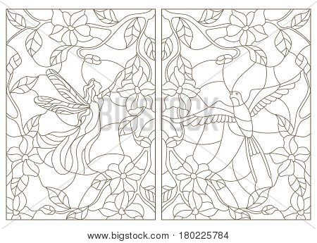 Set contour illustrations in the stained glass style bird and fairy on the background of flowers