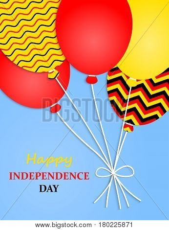 Germany Independence Day Greeting Card.Germany Independence Day Greeting Card. Flying Flat Balloons In National Colors of Germany. Happy Independence Day.German Flag Balloons.