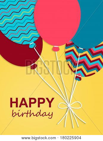 Greeting card Happy Birthday.Vector illustration.Birthday design over white background, vector illustration