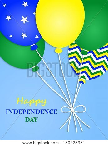 Brazilian Independence Day Greeting Card.Brazil Independence Day Greeting Card. Flying Flat Balloons In National Colors of Brazil.
