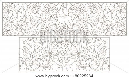 Set contour illustrations of stained glass with abstract swirls grapes and flowers horizontal orientation