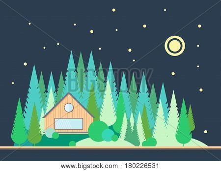 The wooden house on the edge of the pine forest. Night landscape with the moon and stars in style flat. Taiga.