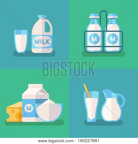 Fresh organic milk vector concept background with dairy products. Milk food product, illustration of organic natural cow milk