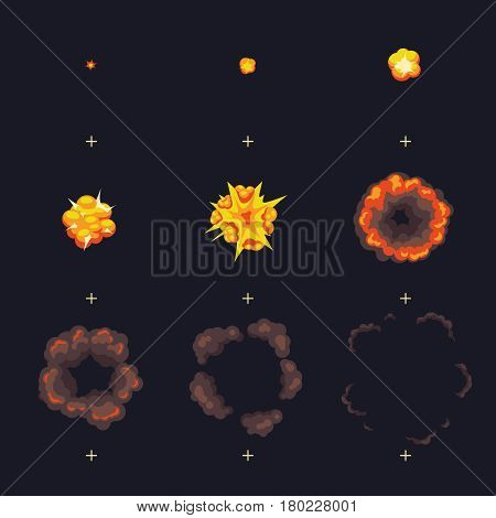 Cartoon disappear explode bomb explosion with smoke cloud vector animation frames. Explode animation design, illustration of explosion animation with smoke