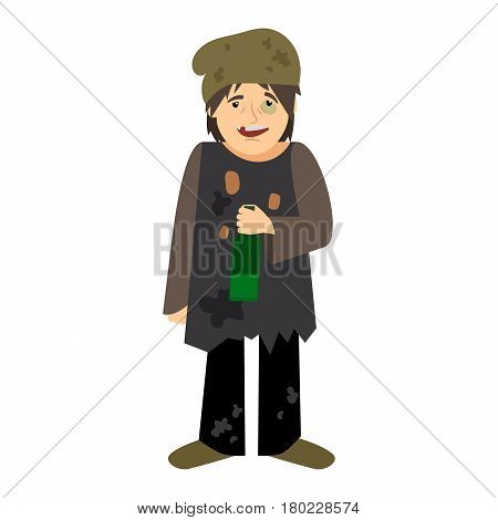 Homeless man drinking from bottle icon on white background. Vector illustration