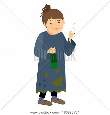 Homeless woman smokes cigarette and drink from bottle. Vector illustration