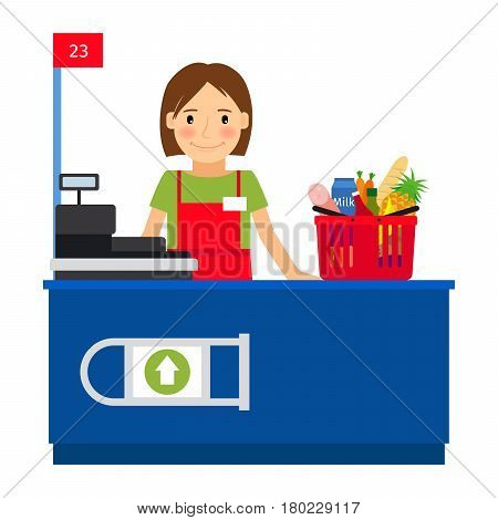 Cashier woman at the cash register machine and a shopping cart. Vector illustration