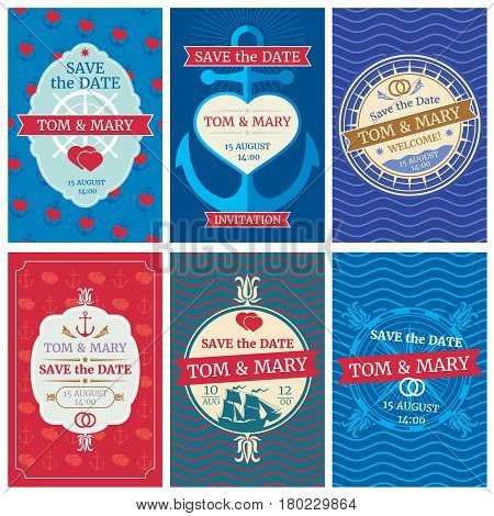 Wedding invitation vector cards with nautical design. Anchors and waves, hearts and ships. Nautical card for wedding invitation, summer retro banner template wedding illustration