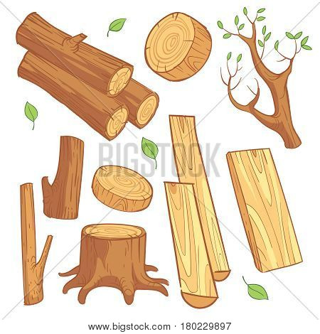 Cartoon wooden materials, lumber, firewood, wood stump vector set. Wooden material for firewood, illustration of natural wood log