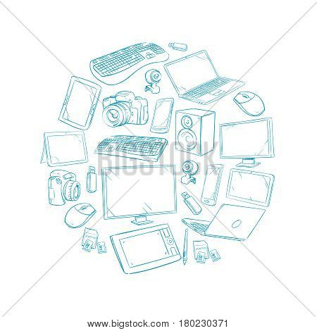 Television, video and computer device, electronic gadget hand drawn vector illustration. Scribble drawing monitor and telephone gadget, television and device smartphone