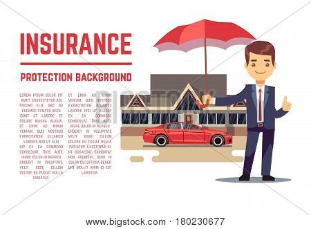 Insurance vector concept with insurance agent showing document, policy. Insurance banner illustration