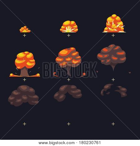 Vector explosion, war game blast fx animation frames sprite. Effect animation from bomb, illustration of cartoon animation explosion