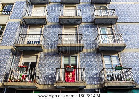Apartment house with traditional tiles called Azulejos in Porto Portugal