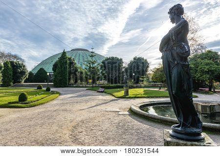 Rosa Mota Pavilion in Crystal Palace Gardens public park in Porto Portugal