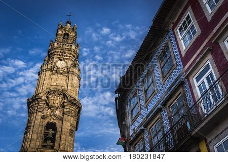 Clerigos Church Tower - one of the most famous landmarks in Porto city in Portugal