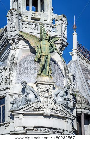 Details of a building with statue on Liberdade Square in Porto city Portugal