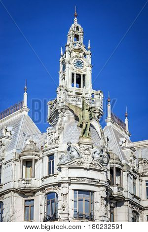 Building with clock tower on Liberdade Square in Porto city Portugal