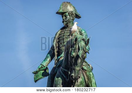 Statue of King Peter IV The Liberator on Liberdade Square in Porto Portugal