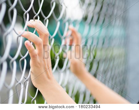 Women Hands holding fence on outdoor scenery during daylight. Hand In Jail concept of life imprisonment