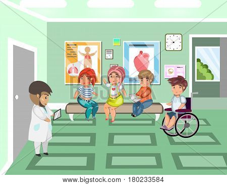 Patients in doctors waiting room at the hospital, medical clinic. Health care vector concept.