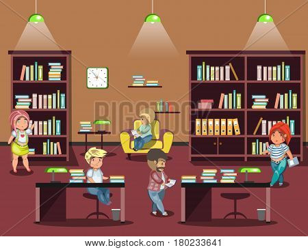 People reading books in library. Library vector flat illustration