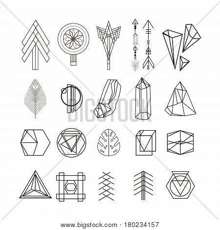 Set of minimal geometric shapes.Trendy hipster linear symbols, icons and logotypes. Ethnic aztec patterns. Geometric decor items. Vector illustration.