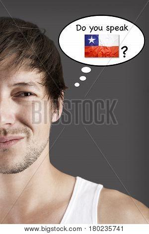Handsome student do you speak Chilean? Language concept