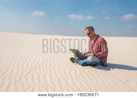 Concerned Man With A Laptop Sits In Desert