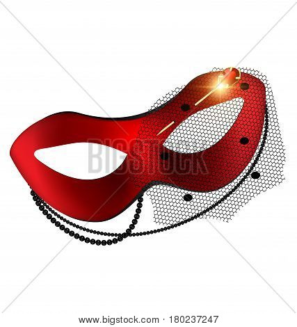white background, red-black carnival half mask with jewel pin, beads and veil