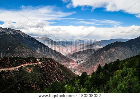 Beautiful Tibet scenery in china-This is from Baxo County to Markam County road scenery.