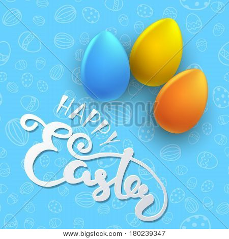 Easter seamless vector pattern with color eggs. Holiday background