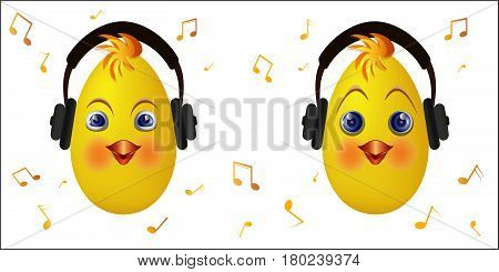 Cute chick emoticons with black headphones. Chick emoticon listen music. Vector illustration.