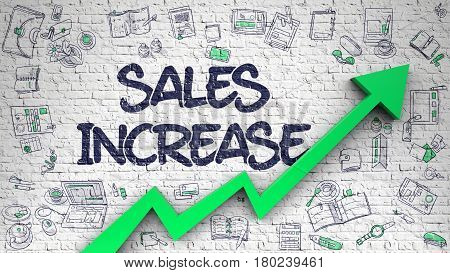 Sales Increase - Line Style Illustration with Doodle Design Elements. Sales Increase Inscription on the Line Style Illustation. with Green Arrow and Doodle Design Icons Around. 3d