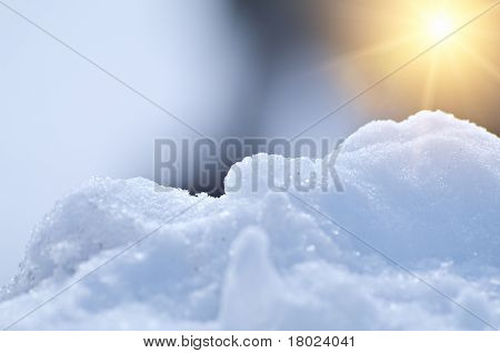 Beautiful Snowy Background With The Sun