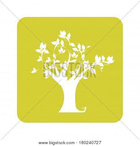 opaque yellow background with tree vector illustration