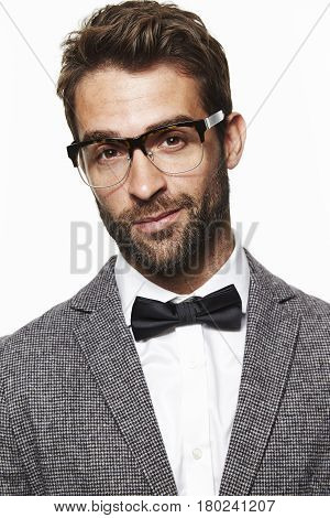 Guy in bow tie and grey jacket portrait