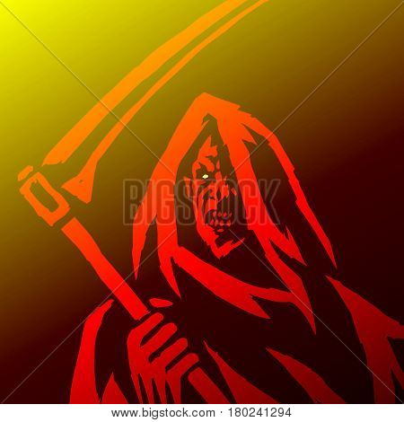 Phantom Reaper. Head in the Hood. Scary Horror Character Face. Graphic Design. Digital Freehand Drawing. Ghost Flat Demon. Red Background. Web Icon.Isolated Vector Illustration.
