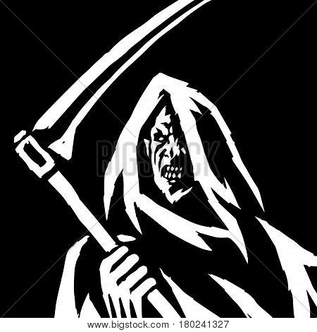 Phantom Reaper. Head in the Hood. Black and White Colors. Scary Horror Character. Graphic Design. Digital Freehand Outline Drawing. Ghost Skeleton. Isolated Flat Vector Illustration.