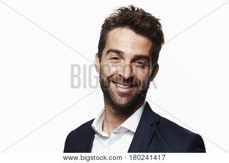 Stubble and smart guy portrait studio shot